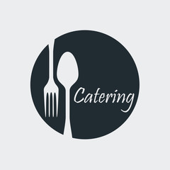 Icono plano Catering en circulo con cubiertos en fondo gris