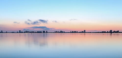 beautiful skyline of a spanish town in the mediterreanen sea at sunrise