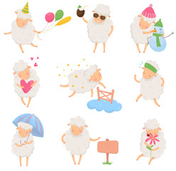 Set of cartoon sheep in different situations. Funny character of domestic animal with fluffy wool. Colorful flat vector design for postcard, sticker or children book