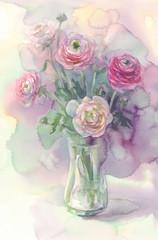 rosy flowers in vase watercolor