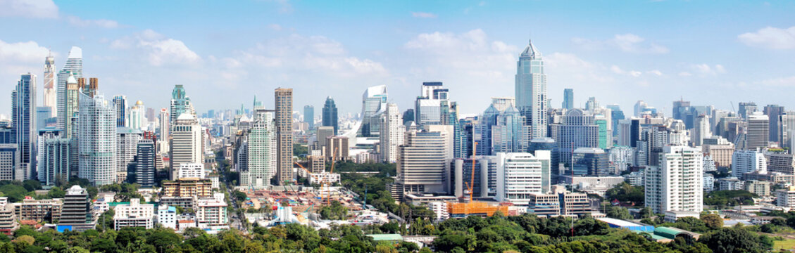 High building and tower in Bangkok Thailand, panorama of office buildings in downtown
