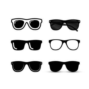 Set of Sunglasses icon. Vector illustration. Isolated on background