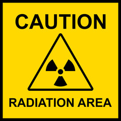 caution radiation area sign vector