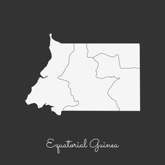 Equatorial Guinea region map: white outline on grey background. Detailed map of Equatorial Guinea regions. Vector illustration.