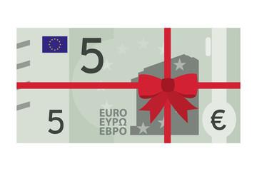 5 Euro Geldschein mit Schleifenband - Geschenk - Gutschein