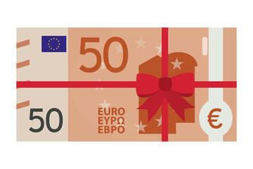 50 Euro Geldschein mit Schleifenband - Geschenk - Gutschein
