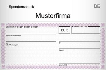 Spendenscheck mit Firmenname - Ornament violett