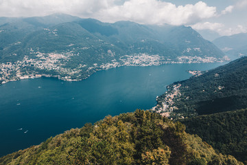 Spectacular viewpoint of Lake Como from the top of the light house - Brunate, Como, Italy - Lombardy