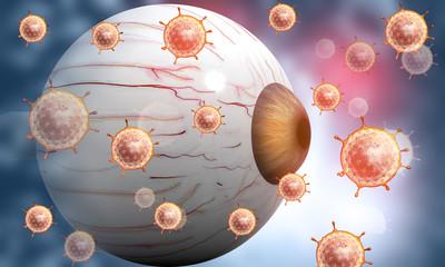 Human eye and virus on beautiful background