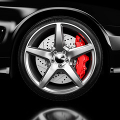 Black car wheel and brakes closeup 3d