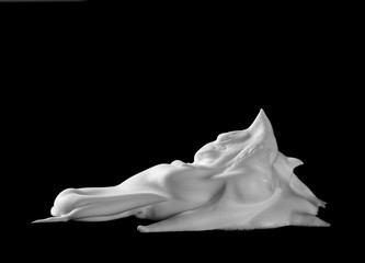 Shaving foam isolated on black, with clipping path texture and background