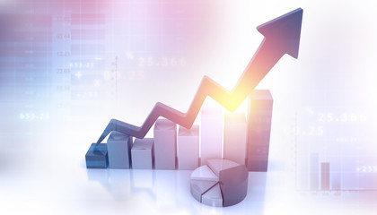 Business Graph showing profits and gains. 3d business background