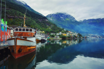 Ship in the fjord, Norway