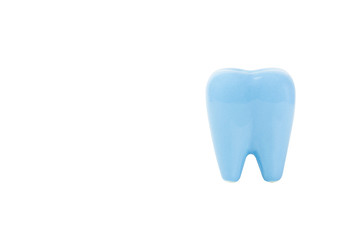 blue colour tooth ceramic isolate on white background