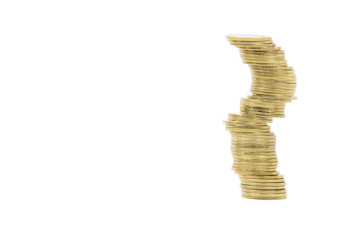 gold coin tower  isolate on white background. Concept : cryptocurrency and risk management, investment, success, failure