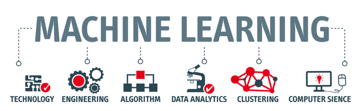 Banner machine learning concept vector illustration with icons