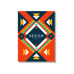 Design ethnic style card, ethno tribal geometric ornament, trendy pattern element for business, invitation, flyer, poster, banner vector Illustration