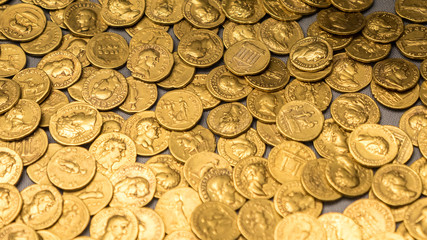 Roman gold coins hoard, full frame background texture