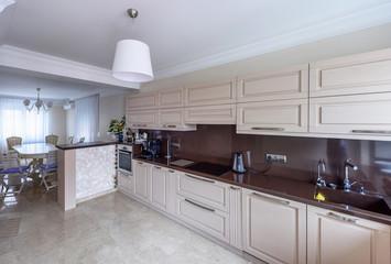 Modern kitchen interior. Appartement design Wide angle photo