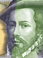 Hernan Cortes portrait from Spanish money