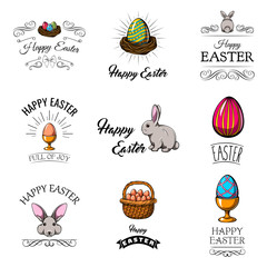 Set of cute Easter cartoon characters and design elements. Vector illustration.