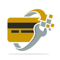 icon logo with the concept of credit card system recovery
