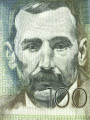 Benito Perez Galdos portrait from Spanish money
