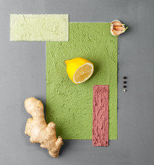 Photo poster in a minimalist style with various fruits and vegetables..