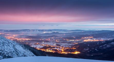 Jeleniogorska Valley from Karkonosze mountains at night, Silesia, Poland