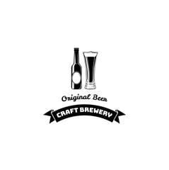 Beer Bottle And Glass. Craft Beer lettering, Ribbon. Vector illustration. Menu design.