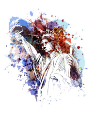 Vector color illustration of a Statue of Liberty