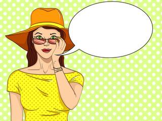 Woman looks through sunglasses pop art retro vector. Comic book style imitation. Text bubble.