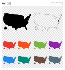 USA high detailed map. Country silhouette icon. Isolated USA black map outline. Vector illustration.