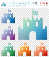 Fort awesome geometric polygonal icons. Astonishing mosaic style symbol collection. Delicate low poly style. Modern design. Fort awesome icons set for infographics or presentation.
