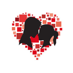Vector logo lovers. Silhouette of man and woman with heart. Social network concept