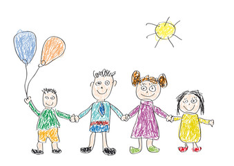 Vector drawing made by a child, happy family