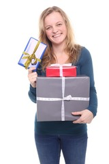 Caucasian woman with presents