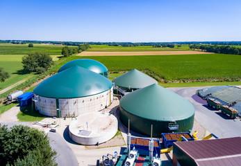 Biogasanlage aus der Vogelperspektive, Luftbild