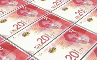 Israeli Shekel bills stacked background. 3D illustration.