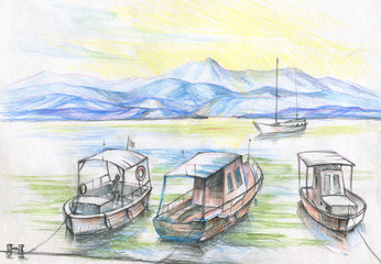 boat on the pier sketch