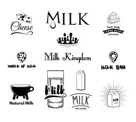 Set of milk and dairy farm product logo labels. Vintage .