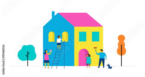Family Is Painting Home Concept Design Summer Outdoor Scene With Colorful Minimalistic Flat Vector