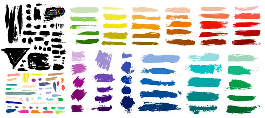 Big colorful of paint, ink brush strokes, brushes, lines, grungy. Dirty artistic design elements, boxes, frames. Vector illustration. Isolated on white background. Freehand drawing Fototapete