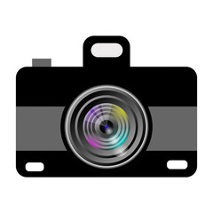 Camera icon design. Colorful lens. Black and grey design. Isolated on white