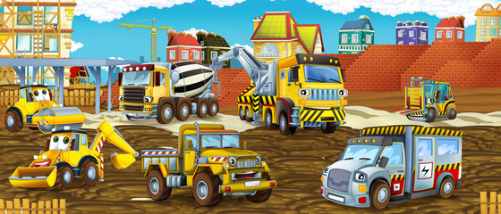 cartoon scene with different costruction site vehicles looking and smiling - illustration for children