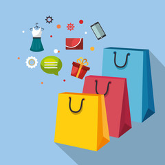 shopping bags with marketing set icons vector illustration design