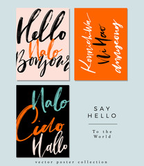 A set of Words Hello in Different Language, Greetings, Vector Hand Lettering, Modern Brush Calligraphy, Branding, Web and Print Background