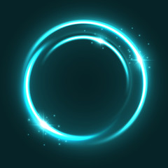 Vector neon light circle sparkles shine icon