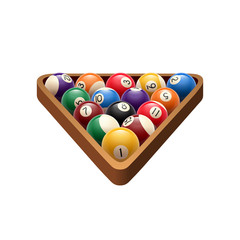 Pool billiards balls in triangle vector game icon