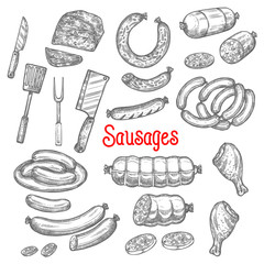 Vector sketch meat sausage products icons set